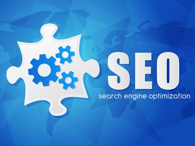 SEO with puzzle and world map, search engine optimization, flat