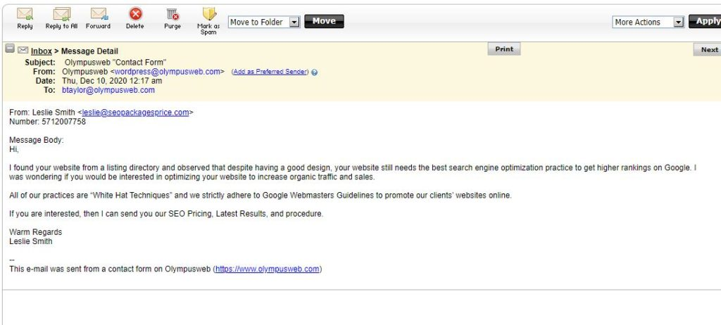 Example of a spam email we received